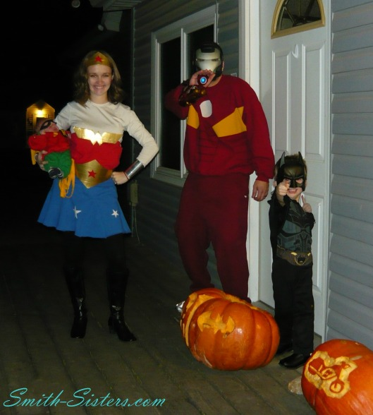 2012 Halloween Batman Robin WonderWoman and Ironman