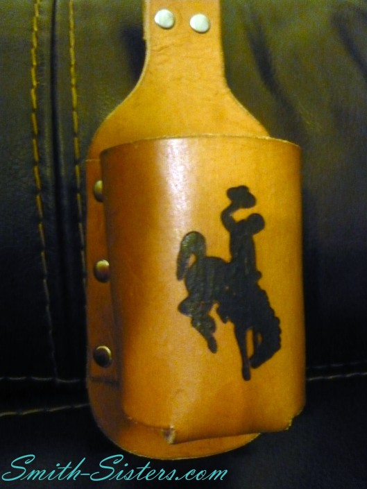 Leather_Beerholder_Bucking_Bronc_UWyo_Belt